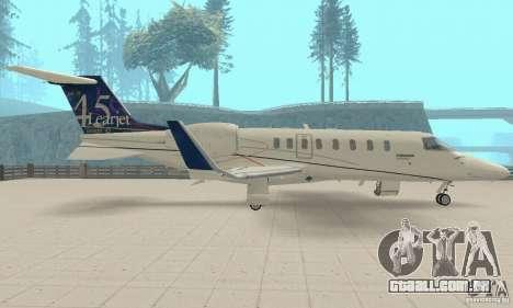 Bombardier Leardjet 45XR para GTA San Andreas vista direita