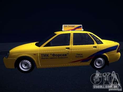 LADA Priora 2170 táxi TMK Afterburner para GTA San Andreas vista traseira