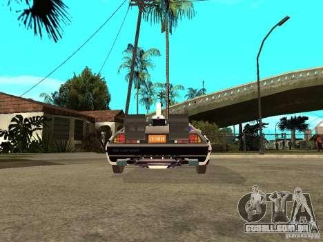 DeLorean DMC-12 para GTA San Andreas traseira esquerda vista
