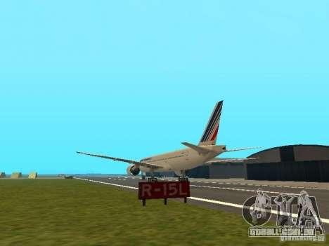 Boeing 777-200 Air France para GTA San Andreas traseira esquerda vista