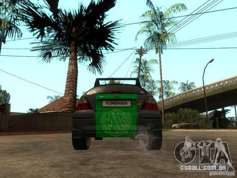 Rover MG ZR EX258 para GTA San Andreas traseira esquerda vista