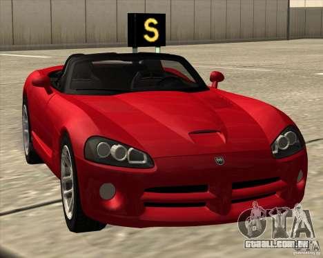 Dodge Viper SRT-10 Roadster para GTA San Andreas traseira esquerda vista
