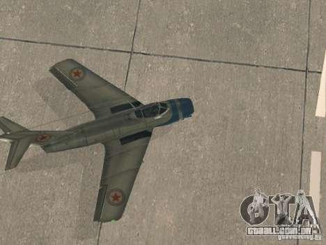MiG-15 com armas para GTA San Andreas vista direita