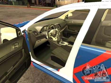 Mitsubishi Lancer X Police Indonesia para GTA San Andreas traseira esquerda vista