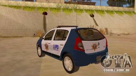 Renault Sandero Police LV para GTA San Andreas traseira esquerda vista