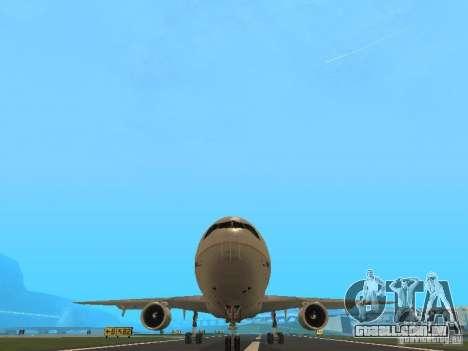 McDonell Douglas DC10 Continental Airlines para GTA San Andreas vista traseira