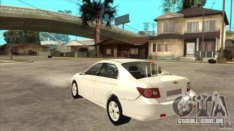 Chevrolet Epica 2008 para GTA San Andreas traseira esquerda vista
