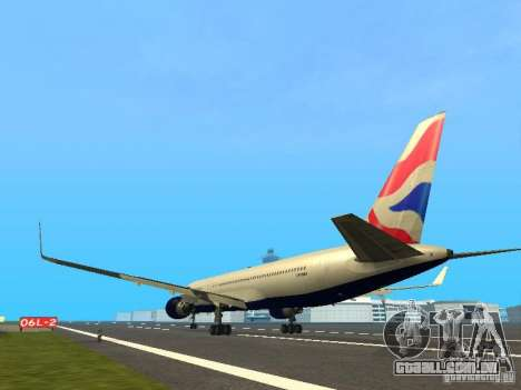 Boeing 767-300 British Airways para GTA San Andreas traseira esquerda vista