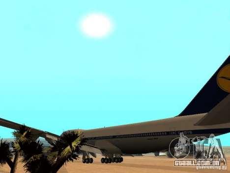 Boeing 747-100 Lufthansa para GTA San Andreas vista interior