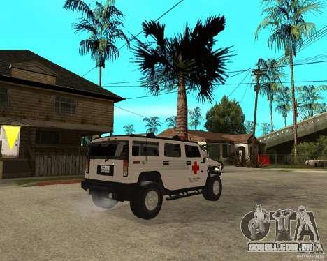 AMG H2 HUMMER - RED CROSS (ambulance) para GTA San Andreas traseira esquerda vista