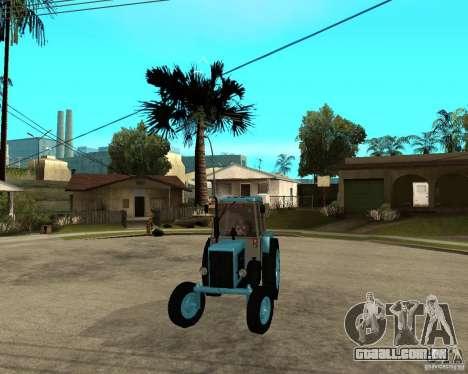 Tractor Belarus 80,1 e reboque para GTA San Andreas vista traseira