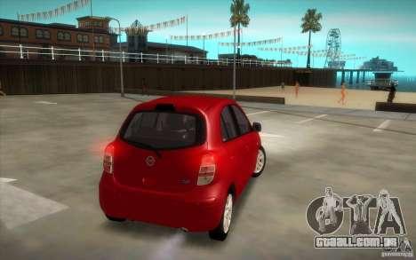 Nissan Micra 2011 para GTA San Andreas vista direita