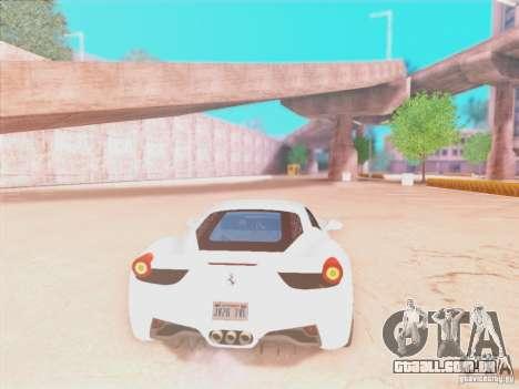 Ferrari 458 2010 para GTA San Andreas vista traseira