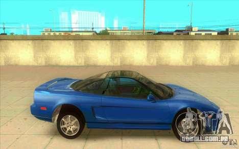 Honda NSX 1991 stock para GTA San Andreas esquerda vista