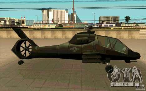 Sikorsky RAH-66 Comanche stealth green para GTA San Andreas vista direita
