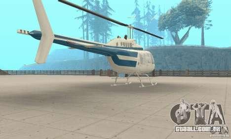 Bell 206B JetRanger II para GTA San Andreas esquerda vista