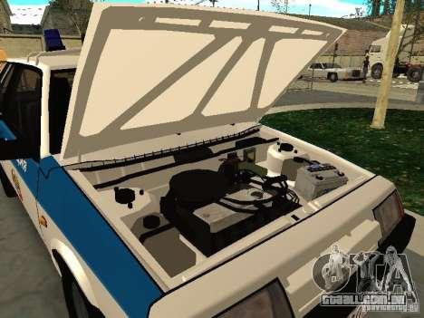 VAZ 2108 polícia para GTA San Andreas vista traseira