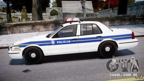 Ford Crown Victoria Croatian Police Unit para GTA 4 esquerda vista