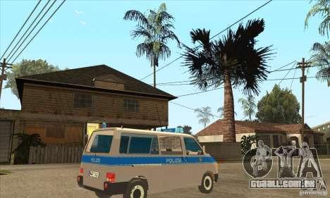 Volkswagen Transporter T4 German Police para GTA San Andreas vista direita