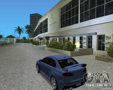 Mitsubishi Lancer Evo X para GTA Vice City vista direita