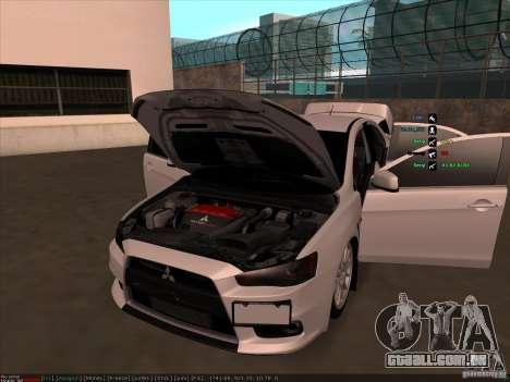 Mitsubishi Lancer Evolution X para GTA San Andreas vista superior