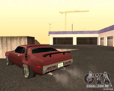 Plymouth Roadrunner para GTA San Andreas traseira esquerda vista