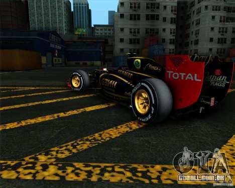 Lotus E20 F1 2012 para GTA San Andreas esquerda vista