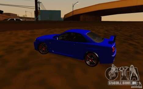 Nissan Skyline R34 GT-R V2 para GTA San Andreas vista interior