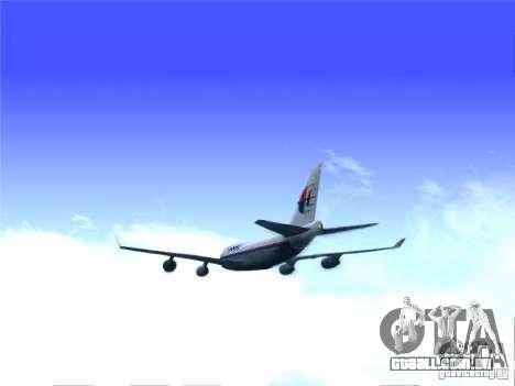 Boeing 747-400 Malaysia Airlines para GTA San Andreas traseira esquerda vista