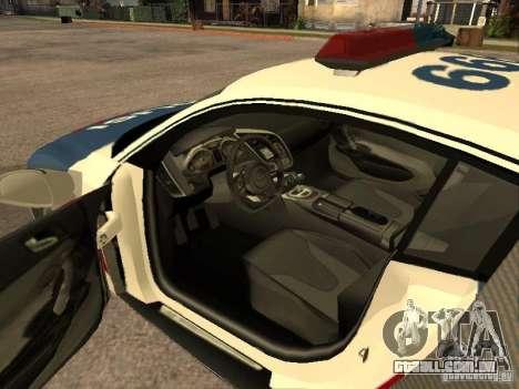 Audi R8 Police Indonesia para GTA San Andreas traseira esquerda vista
