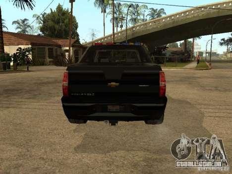 Chevrolet Avalanche Police para GTA San Andreas vista direita