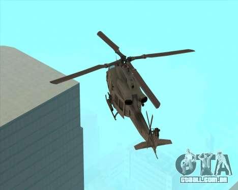 UH-1 Iroquois para GTA San Andreas traseira esquerda vista