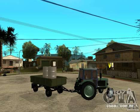 Tractor Belarus 80,1 e reboque para vista lateral GTA San Andreas