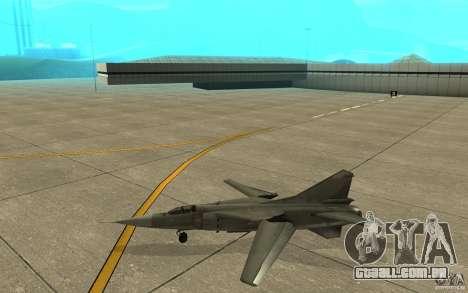 MiG-23 para baixo o Flogger para GTA San Andreas traseira esquerda vista