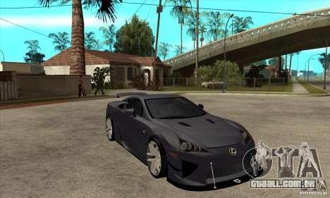 Lexus LFA 2010 v2 para GTA San Andreas vista traseira