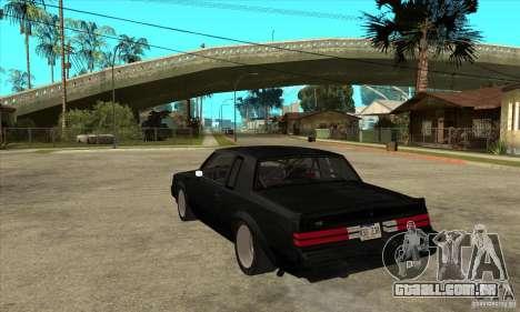 Buick Regal Grand National GNX para GTA San Andreas traseira esquerda vista