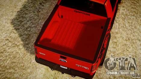 Ford F150 SVT Raptor 2011 para GTA 4 vista inferior