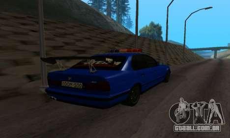 BMW M5 POLICE para GTA San Andreas traseira esquerda vista