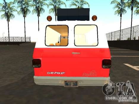 Chevrolet Van G20 LAFD para GTA San Andreas vista direita