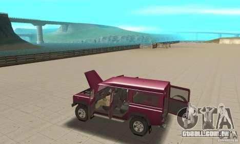 Land Rover Defender 110SW para GTA San Andreas vista interior