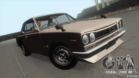 Nissan Skyline 2000 GT-R Coupe para vista lateral GTA San Andreas
