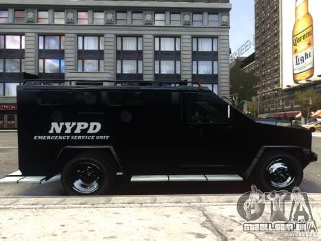 Lenco BearCat NYPD ESU V.1 para GTA 4 vista de volta