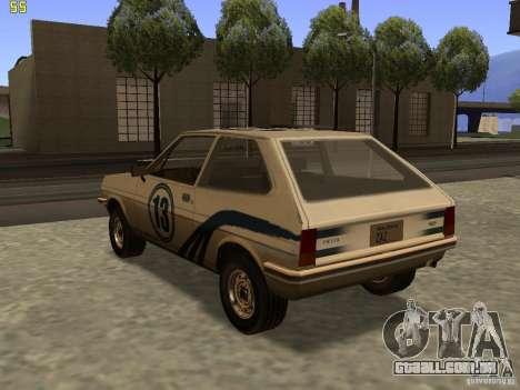 Ford Fiesta 1981 para GTA San Andreas esquerda vista