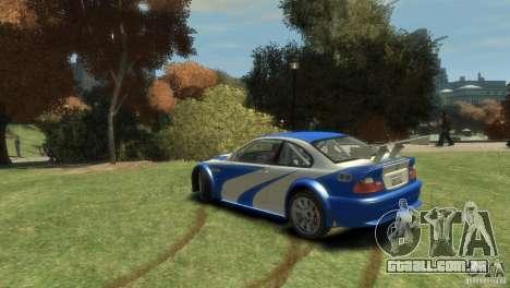 BMW M3 GTR NFS MOST WANTED para GTA 4 traseira esquerda vista