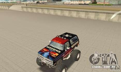 Chevrolet Blazer K5 Monster Skin 5 para GTA San Andreas esquerda vista