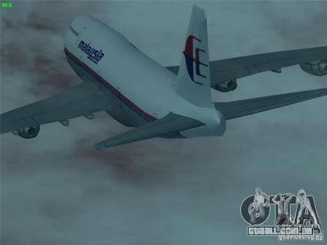 Boeing 747-400 Malaysia Airlines para GTA San Andreas vista superior