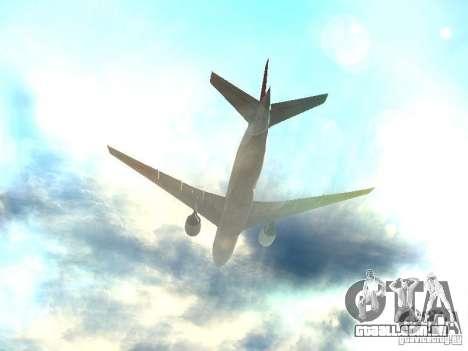 Boeing 777-200 Japan Airlines para GTA San Andreas vista inferior