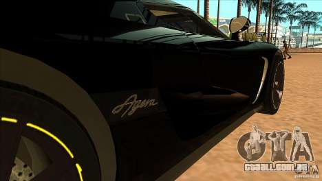 Koenigsegg Agera 2010 para GTA San Andreas vista interior