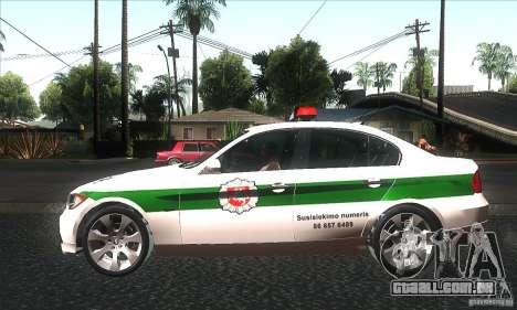 BMW 330 E90 Policija para GTA San Andreas esquerda vista