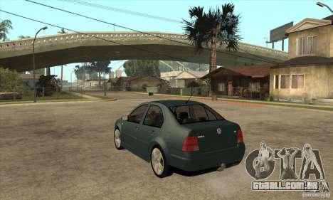Volkswagen Bora-Golf para GTA San Andreas traseira esquerda vista